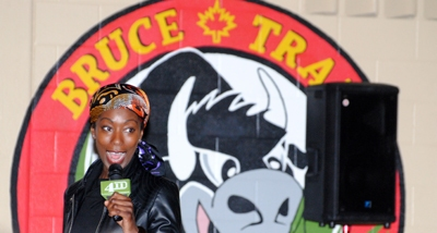 Speaking at Bruce Trail Public School.
