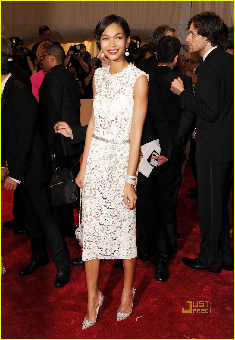 Chanel Iman wears Dolce & Gabbana attends Gala at the Metropolitan Museum of Art in NYC.