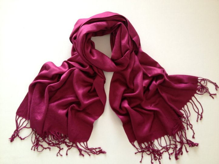 Cranberry coloured pashmina scarf.