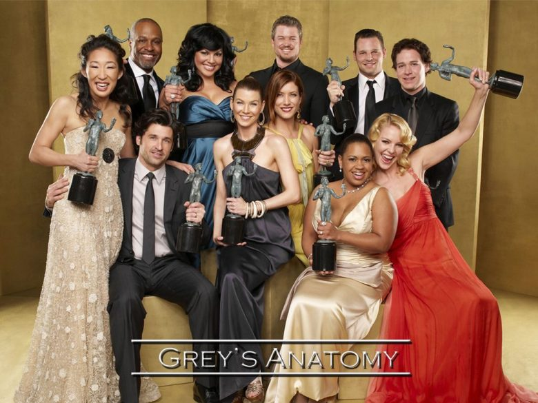 The cast of Rhime's award-winning drama Grey's Anatomy.