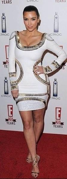 Kim Kardashian in Gold Rush dress.