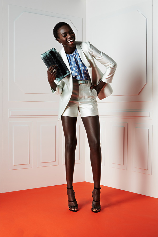 Blazer and shorts by Porter Grey, Top by Orbit, Strappy sandals from Topshop, 10 Crosby Derek Lam clutch purse.