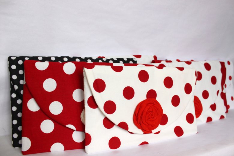 Polka dot clutches.