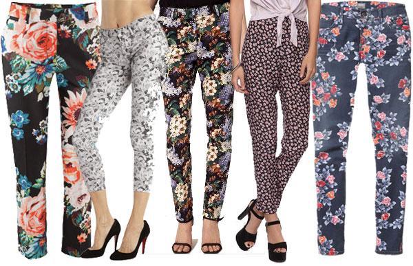 Floral printed pants look hot in slim cut cropped styles.