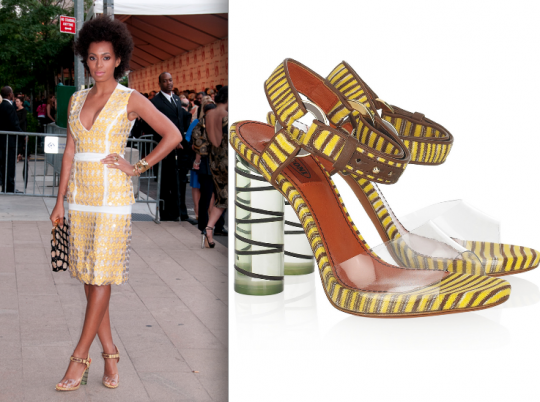 Solange Knowles in Missoni knitted perplex heels.