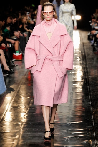Pastel coat by Carven at Paris Fashion Week.