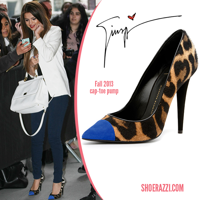 Selena Gomez wearing a pair of Giuseppe Zanotti pumps.