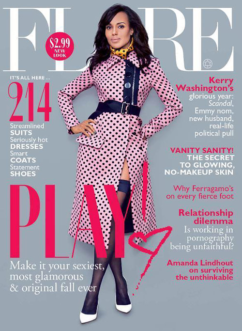 Kerry Washington graces the cover of Flare Magazine wearing a coat by Miu Miu.
