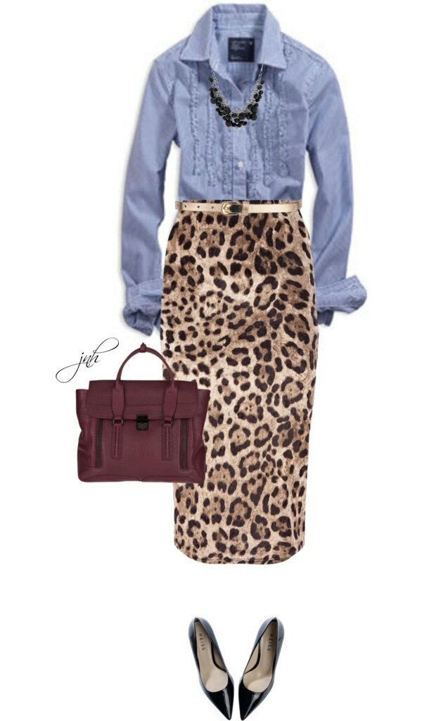 Shirt AE, Velour animal print skirt johnlewis.com, Shoes Reiss.com, and 3.1 Phillip Lim leather tote bag.