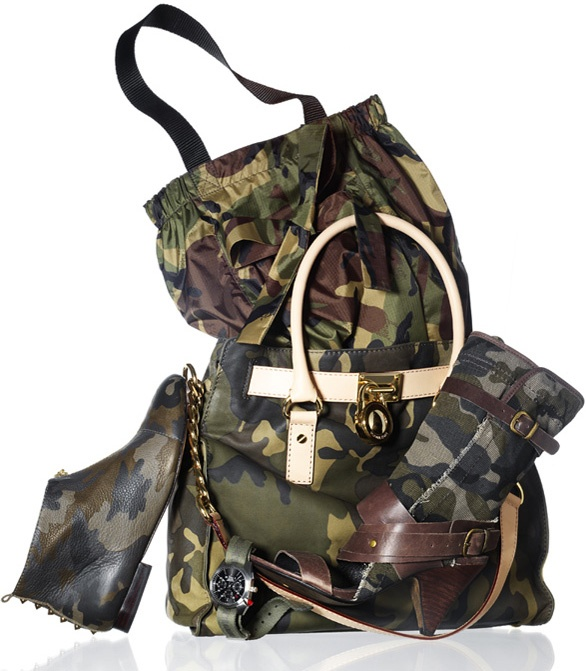 Camouflage accessories as featured in Marie Claire magazine.