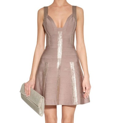Herve Leger Shayla foil dress.