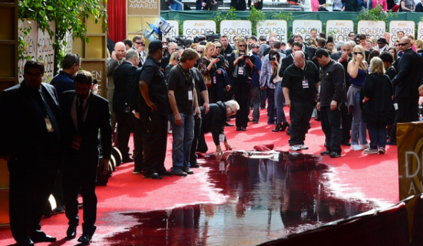 Water soaked the red carpet after it was reported a pipe burst. Photo: Getty Images