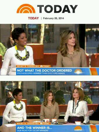 Tamron Hall as she appeared on the Today Show, February 28, 2014 wearing the Black and Yellow necklace. Photo: Twitter @HolstandLee (https://twitter.com/HolstandLee/status/439451065247744001/photo/1)