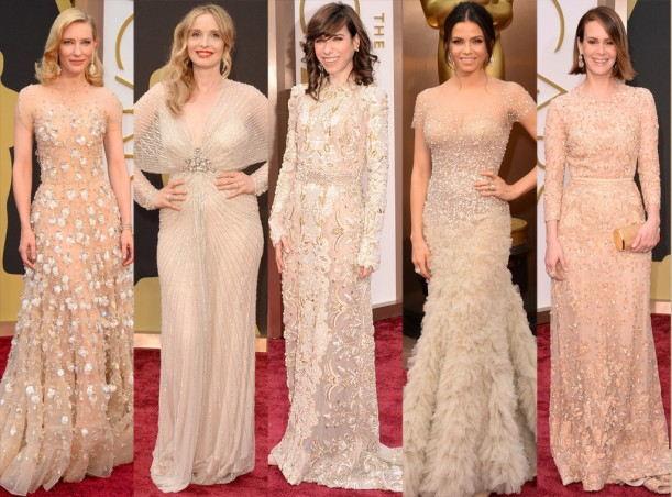 Sparkly nude dresses dominated on the red carpet. (Photo: EOnline)