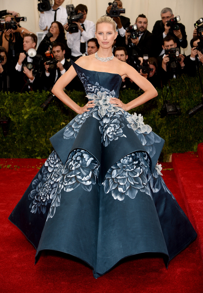 Karolina Kurkova in blue ball gown.  (Photo by Dimitrios Kambouris/Getty Images)