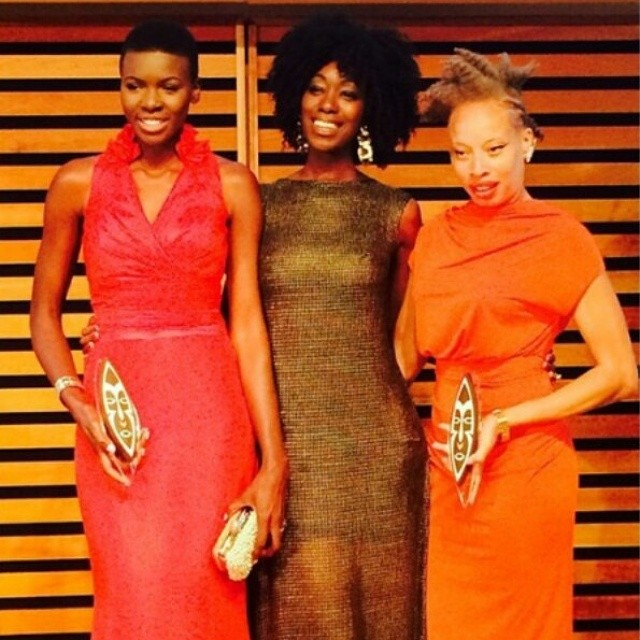 Model of the Year Award-winner, Everline Aboka, Host, Ivy Prosper and Supermodel Stacey McKenzie who was awarded the Model Excellence Award.
