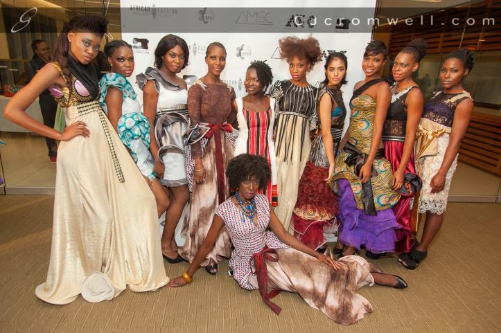 Models wearing the clothing from Black Trash, a fashion label from Botswana.