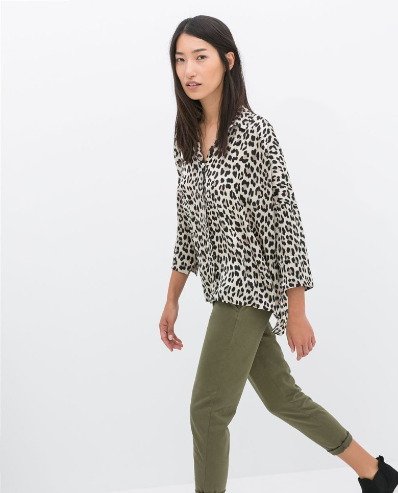 Zara oversized animal print blouse. (zara.com)