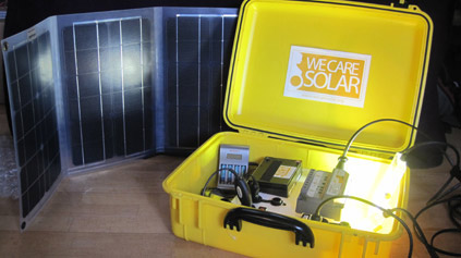 Solar suitcases equiped for the ability to give needed power in health facilities.