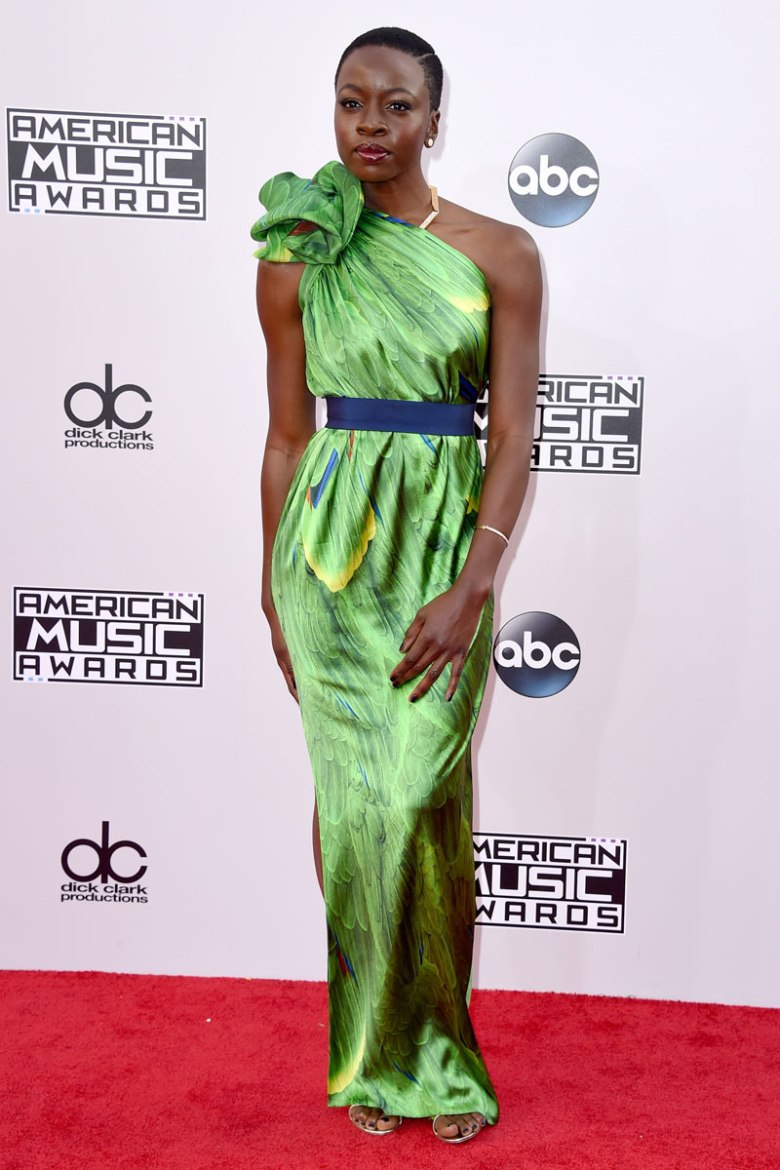 Danai Gurira looks radiant in this green one shoulder dress. (Photo: Getty Images)