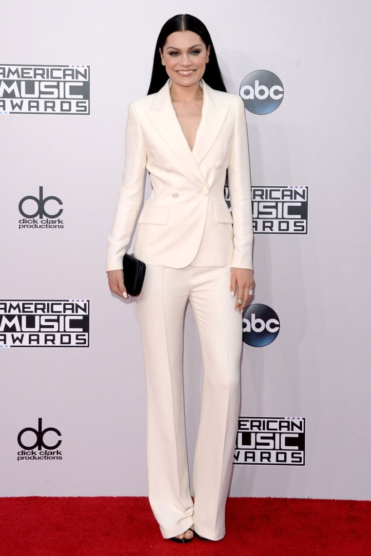 Jesse J in all white suit. (Photo: Getty Images)