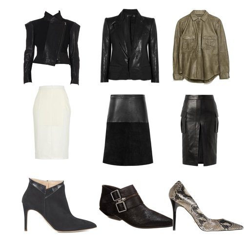Top left to right: Structured leather jacket by Anglomania, leather blazer by Haider Ackermann, leather military shirt by Zara. Middle left to right: Long leather and scuba skirt by D'Albert, Hayden textured leather skirt by Reiss, high hem slit pencil leather skirt by Balmain. Shoes left to right: Joker ankle boot by Rupert Sanderson, Comparni ankle boot by Shellys London and snakeskin heel by Buffalo.