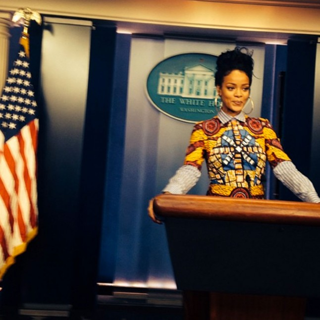 Rihanna posing at the White House.