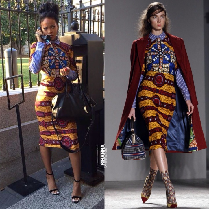 Rihanna rocks this dress from Stella Jean's runway collection.