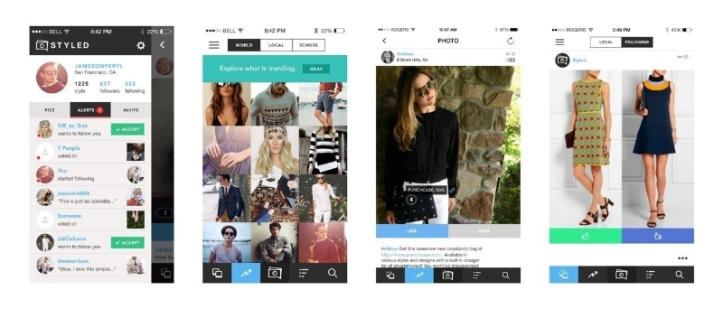 Screenshots of Styled App (PRNewsFoto/Styled)