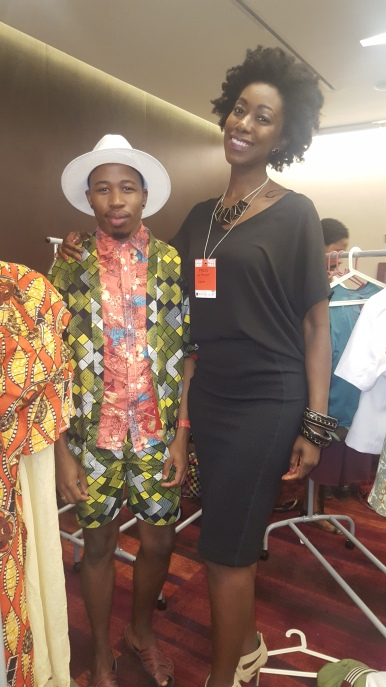 Backstage before the shows with Mzukisi Mbane from South Africa.