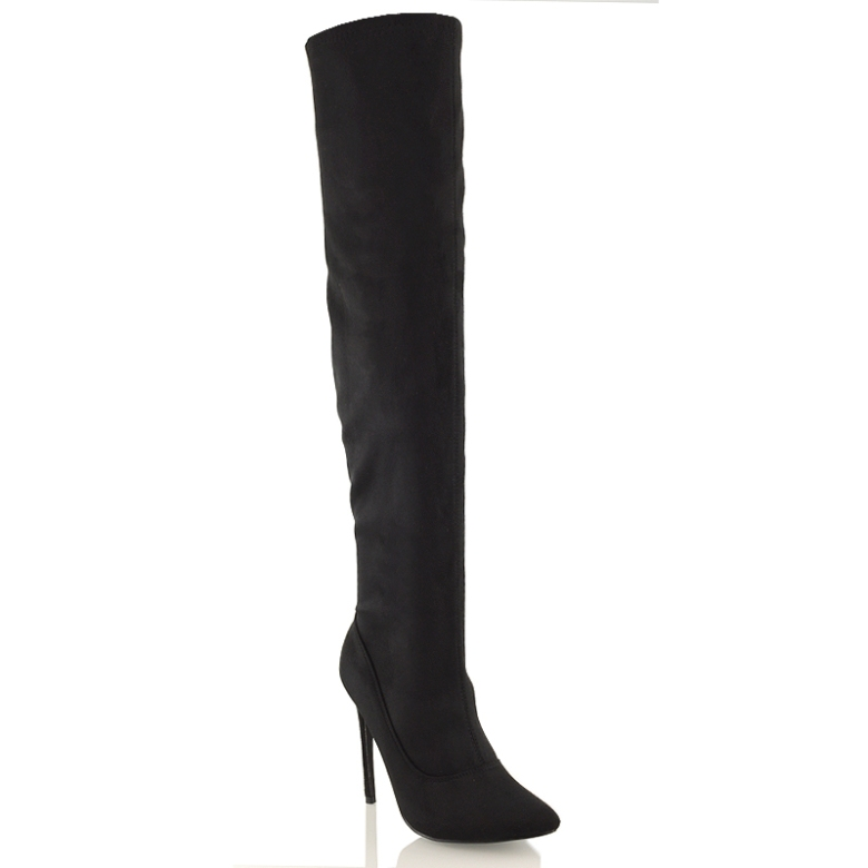 PH-1 Black suede over the knee high boots high heel clubbing evening party