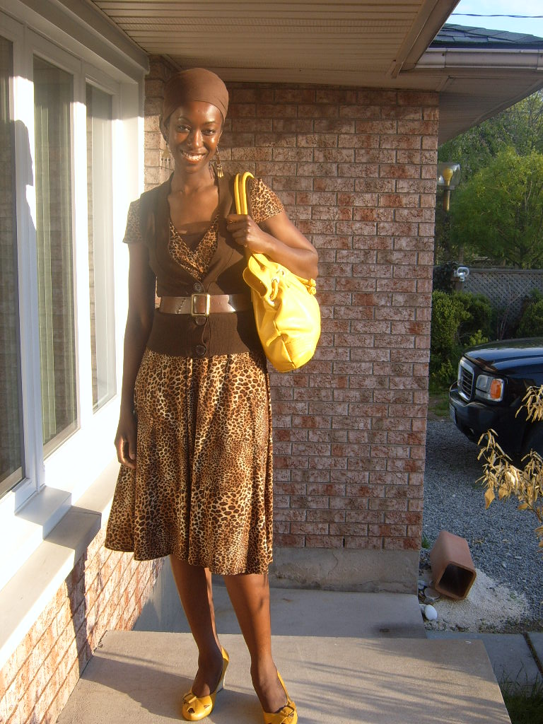 Dress from Tall Girl Shop (now Long Tall Sally), vest Costa Blanca, shoes Aerosoles and purse Forever 21.