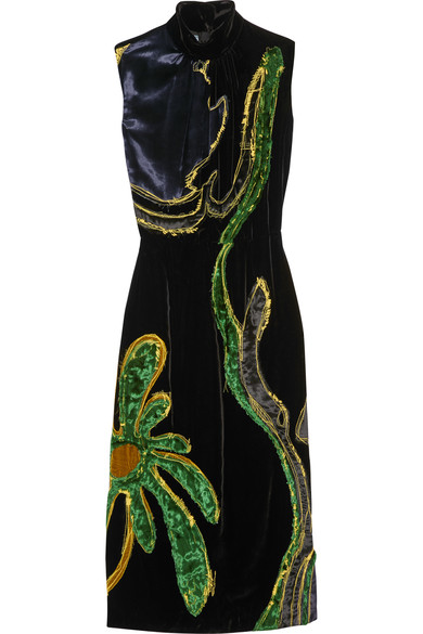 Prada appliqué velvet dress