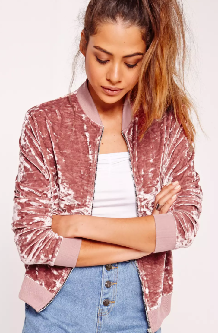 Velvet Bomber Jacket from Misguidedus.com